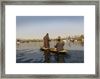 Cartoon - Kashmiri Men Plying A Wooden Boat In The Dal Lake In Srinagar Framed Print