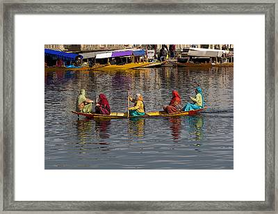 Cartoon - Ladies On A Wooden Boat On The Dal Lake With The Background Of Hoseboats Framed Print by Ashish Agarwal