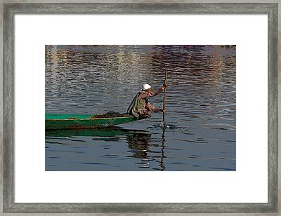 Cartoon - Man Plying A Wooden Boat On The Dal Lake Framed Print