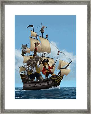 Cartoon Animal Pirate Ship Framed Print by Martin Davey