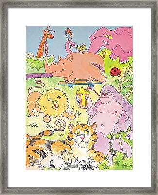 Cartoon Animals Framed Print
