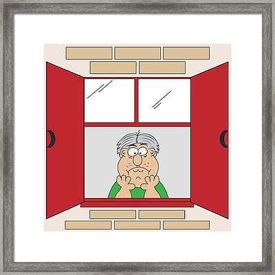 Cartoon Bored Old Man At Window Framed Print