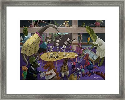Cartoon Dinosaur Museum Framed Print by Martin Davey