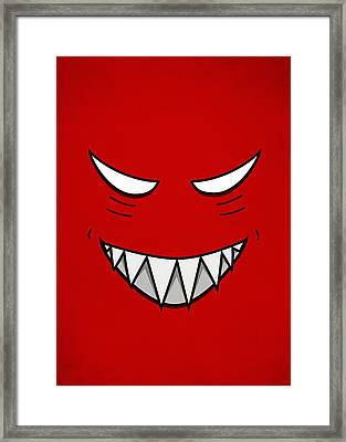 Cartoon Grinning Face With Evil Eyes Framed Print
