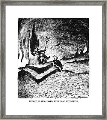 Cartoon: Hitler & Mussolini Framed Print by Granger