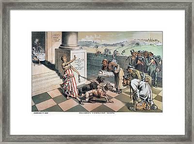 Cartoon Immigration, 1885 Framed Print by Granger