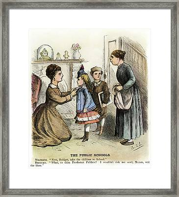 Cartoon Irish Immigrants, 1873 Framed Print by Granger