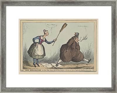 Cartoon On The Separation Between The Netherlands Framed Print by William Heath And Thomas Mclean
