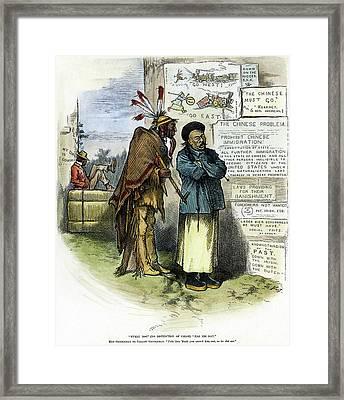 Cartoon Prejudice, 1879 Framed Print by Granger