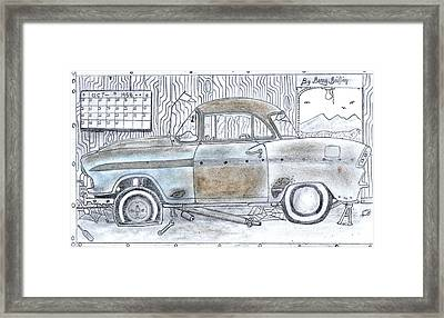 Cartoon Rustic Car  Framed Print by Gerald Griffin