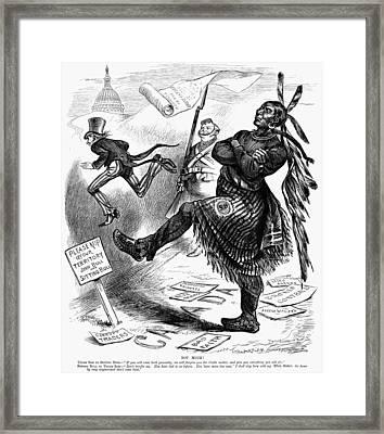 Cartoon Sitting Bull Framed Print by Granger