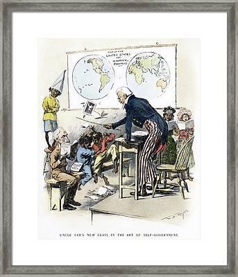 Cartoon Spanish-american War, 1898 Framed Print