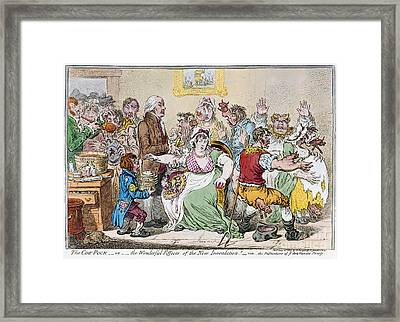 Cartoon: Vaccination, 1802 Framed Print