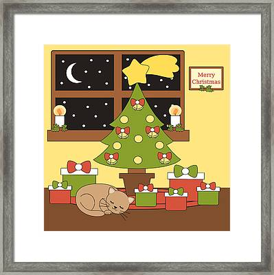 Cartoon Vector Home Interior With Christmas Tree Gifts And A Cat Lying Sleeping