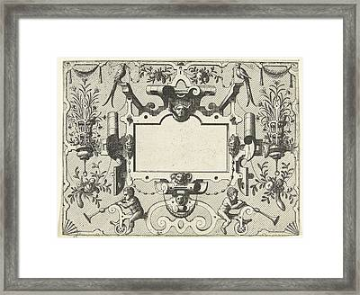 Cartouche Surrounded By Grotesques, With Left And Right Framed Print by Johannes Or Lucas Van Doetechum And Hans Vredeman De Vries And Hieronymus Cock