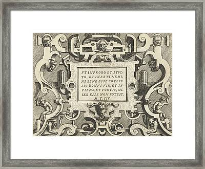 Cartouche With A Quote From Cicero, Frans Huys Framed Print by Frans Huys And Hans Vredeman De Vries And Gerard De Jode