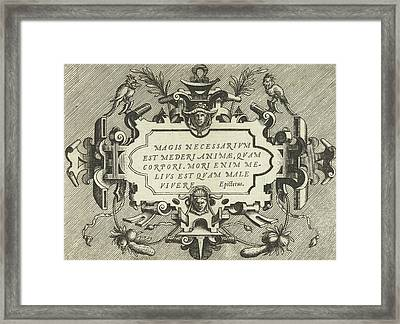 Cartouche With A Quote From Epictetus, Frans Huys Framed Print by Frans Huys And Hans Vredeman De Vries And Gerard De Jode