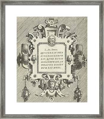 Cartouche With A Quote From Seneca, Frans Huys Framed Print by Frans Huys And Hans Vredeman De Vries And Gerard De Jode