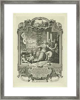 Cartouche With Allegory Of Jewish History Framed Print by Quint Lox