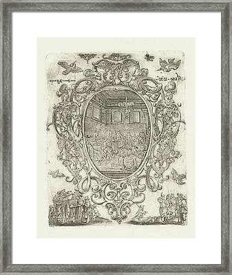 Cartouche With Heads, Cherubs And Masks, Hans Janssen Framed Print