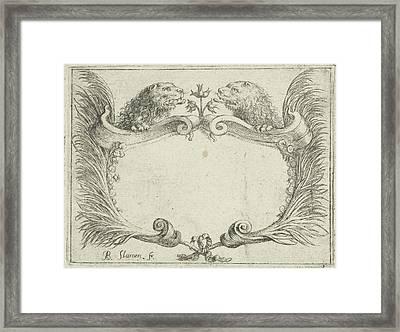 Cartouche With Lion Heads, Albert Flamen Framed Print by Albert Flamen
