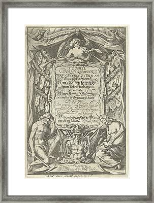 Cartouche With Title And The Allegorical Figures Father Framed Print by Willem Jacobsz. Delff And Nicolaes De Clerck