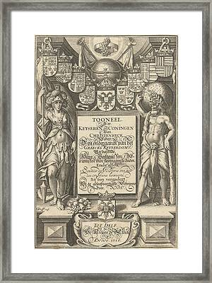 Cartouche With Title, Flanked By Hercules With Celestial Framed Print