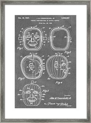 Carved Pumpkin Patent Framed Print