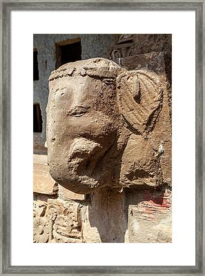Carved Stone Head Of Ganesh, Hindu Framed Print by Charles O. Cecil