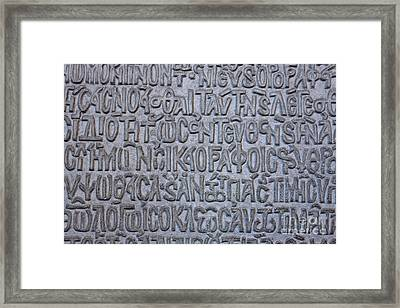 Carved Text In The Hagia Sophia Istanbul Framed Print by Robert Preston