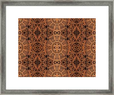 Carved Wooden Cabinet Symmetry Framed Print by Hakon Soreide