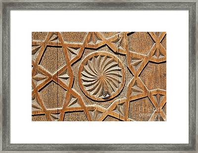 Carved Wooden Door Of The Chashma Ayab Mausoleum At Bukhara In Uzbekistan Framed Print by Robert Preston