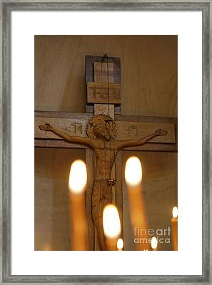 Carving Of Jesus Christ On The Cross Inside Tsminda Sameba Cathedral Tbilisi Framed Print by Robert Preston