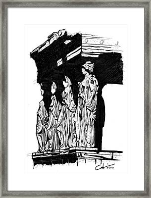 Caryatids In High Contrast Framed Print by Calvin Durham