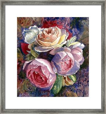 Caryn's Roses Framed Print by Janet King