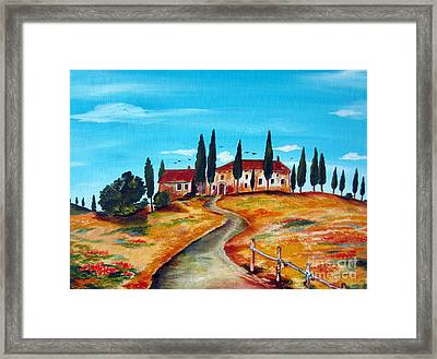Casale On The Hill Of Spring Framed Print by Roberto Gagliardi