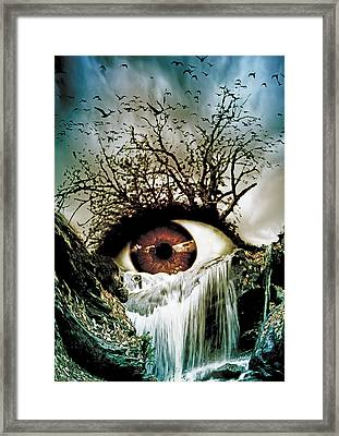 Cascade Crying Eye Framed Print by Marian Voicu