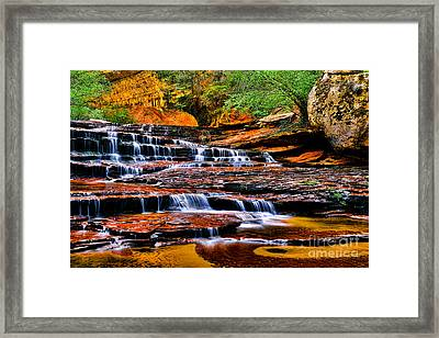 Cascade Falls Framed Print by Peter Dang