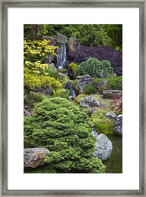 Cascade Waterfall - Japanese Tea Garden Framed Print by Adam Romanowicz