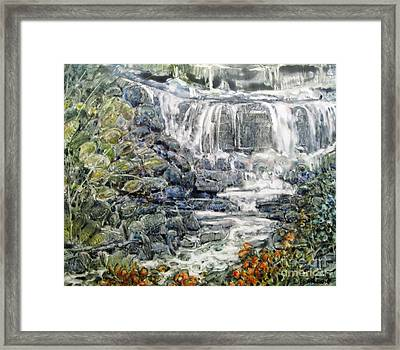 Cascade With A Touch Of Orange Framed Print