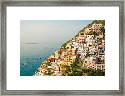 Cascades Of Positano City Framed Print by Gurgen Bakhshetsyan