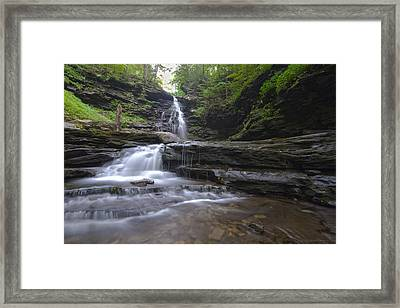 Cascading Falls Framed Print by Phil Abrams