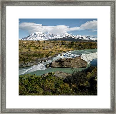 Cascading Stream With Mountain Peak Framed Print by Panoramic Images