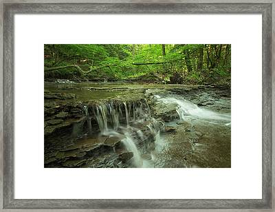 Cascading Water In Columbia Run Creek Framed Print