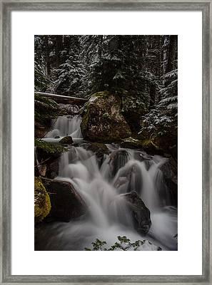Cascading Winter Scene Framed Print by Mike Reid