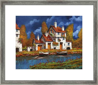 Case Bianche Sul Fiume Framed Print