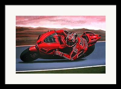 Motorcycle Racing Paintings Framed Prints