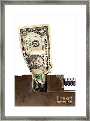 Cash Crunch Framed Print by Olivier Le Queinec