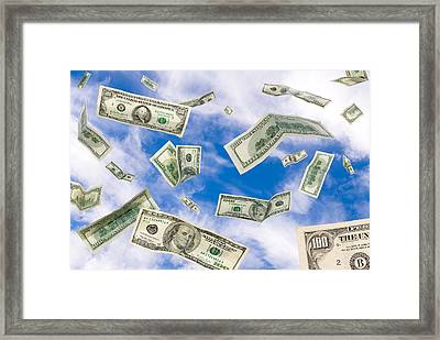 Cash Falling From The Sky Framed Print