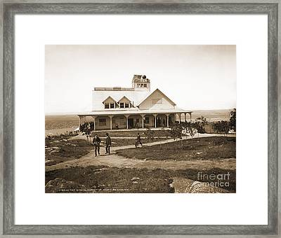 Casino At The Top Of Mt Beacon In Black And White Framed Print